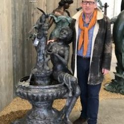 Fine Cast Bronze Sculpture Lady sitting on Fountain with 2 Birds