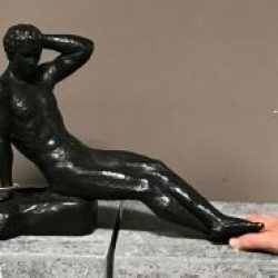 Fine Cast Bronze Sculpture Man Lying Naked