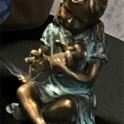 Fine Cast Bronze Sculpture Girl with Teddy Bear