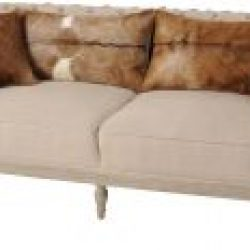 Libra Company Homestead Mindi Wood Three Seater Sofa Goat Skin Cushions cream brown