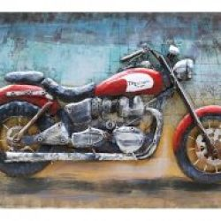 MEAR 71 3D Metal Wall Art Bike Vintage Red Avant Garden Guernsey