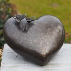 Bronze Memorial Heart Urn Butterflies